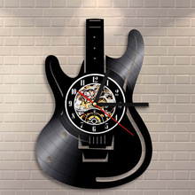 Free Shipping 1Piece Musical Instruments Vinyl Wall Clock Electric Guitar Design Unique Handmade Art Time Clock Guitarist Gift