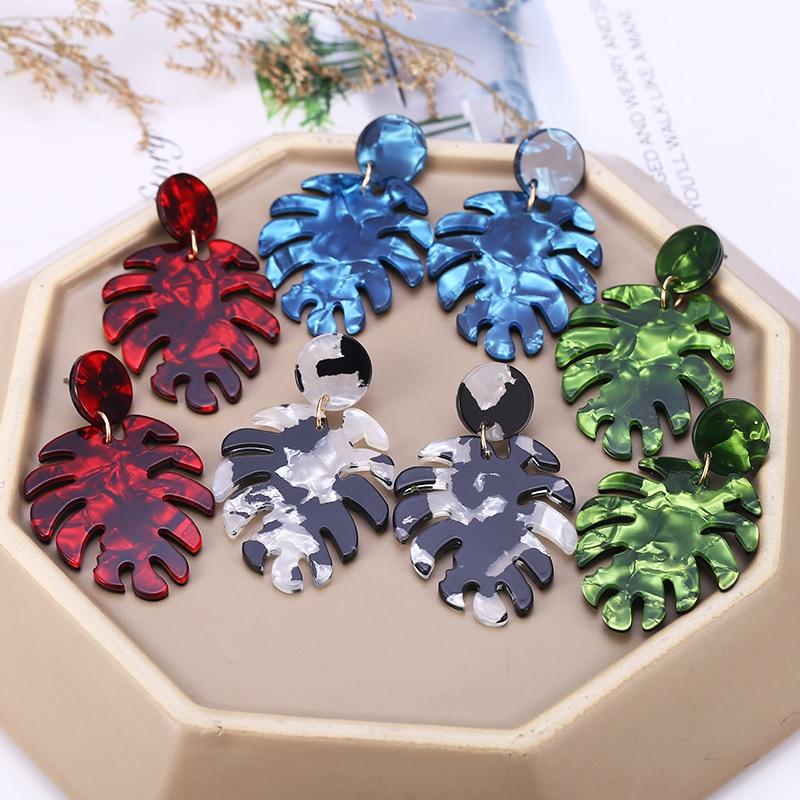 HOCOLE Korean Acrylic Earrings 2019 For Women Leopard tree leaves Statement Resin Drop Dangle Earring Bohemian Jewelry Wholesale in Drop Earrings from Jewelry Accessories