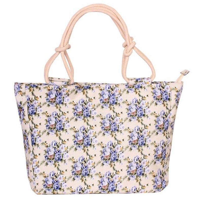 2019 Fashion Folding Women Big Size Handbag Tote Ladies Casual Flower Printing Canvas Graffiti Shoulder Bag Beach Bolsa Feminina 3