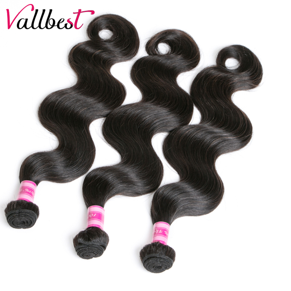 Vallbest Brazilian Body Wave Hair Weave Bundles Remy Hair Weave 3 Bundles/lot 300g 100% Human Hair 8-28 inch Longer Hair 1B