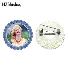 2018 Nieuwe Marilyn Monroe Kristal Broche Actrice Broches Pin Kleding Accessoires Glas Cabochon Sieraden Handgemaakte Broche(China)