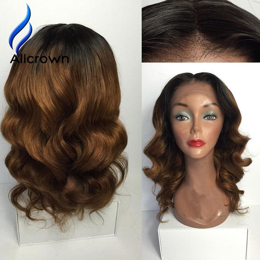 Ombre Human Hair Full Lace Wig Middle Part Wavy Lace Front