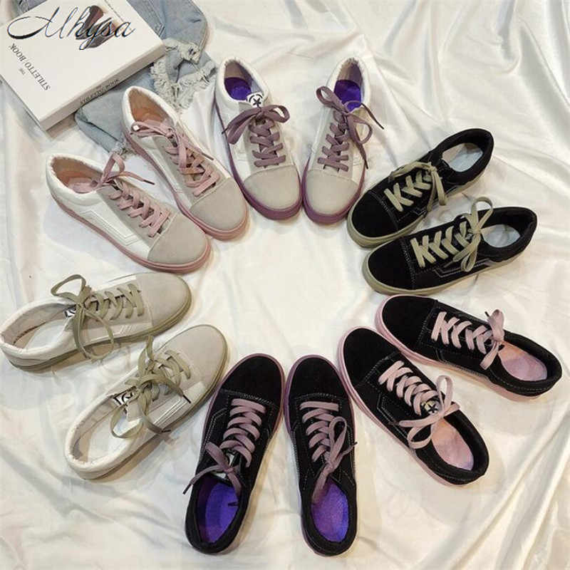Mhysa 2019 אביב נשים של לגפר נעלי אופנה פראי אור בד שטוח נעלי גבירותיי מקרית נמוך שרוכים אופנה סניקרס T567