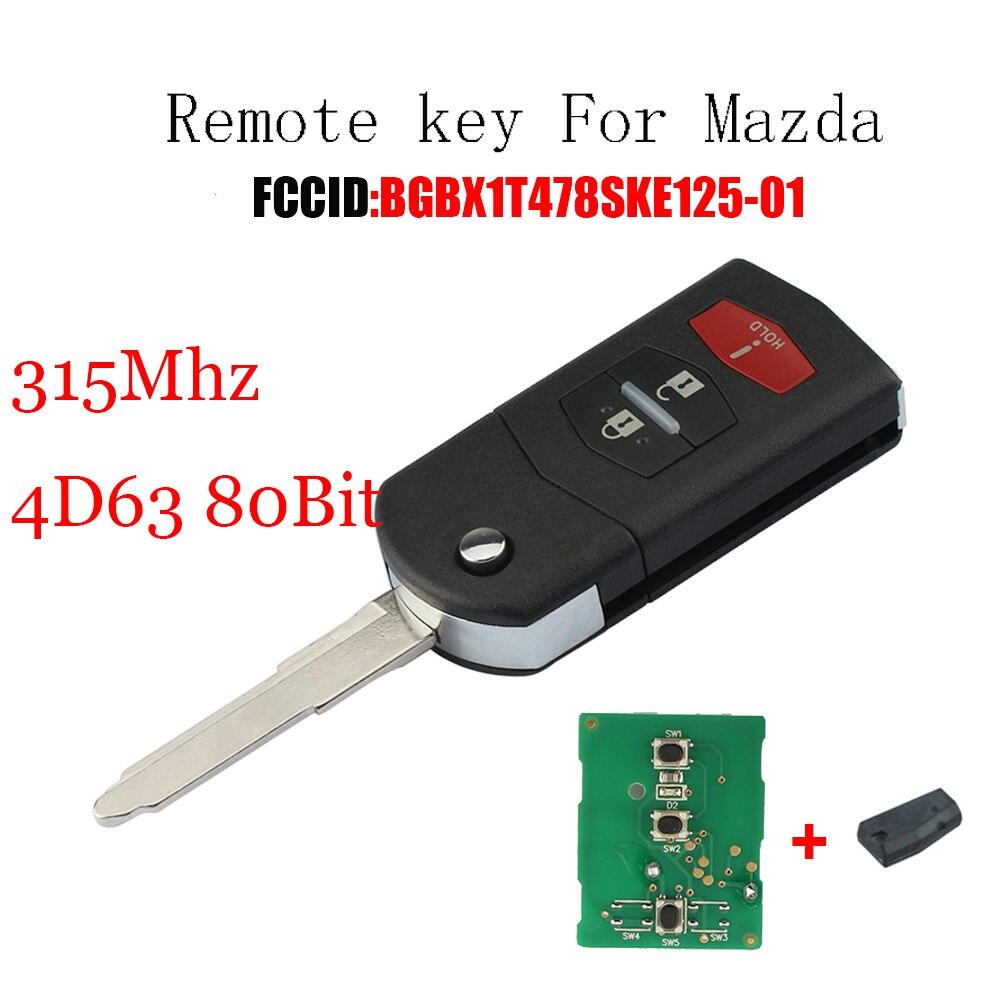 2 + 1 tasten Fernbedienung Auto Schlüssel 315 mhz Für Mazda 3 5 2011-2015 Für Mazda CX-7 CX7 2009-2012 BGBX1T478SKE125-01 Original schlüssel + 4D63 Chip