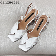 Sandália de salto alto couro genuíno, calçado feminino dedo aberto elegante