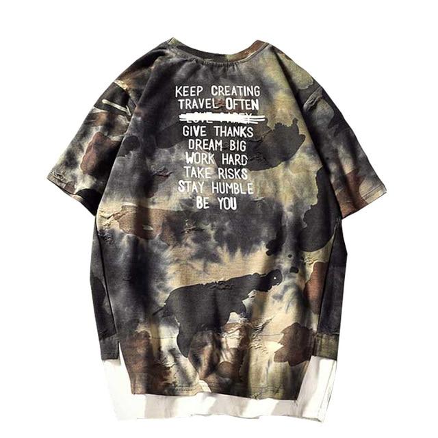 2019 New Summer Men Streetwear Short Sleeve T Shirts Hole ripped Tee Shirt Homme Drop Shipping M-5XL ABZ356