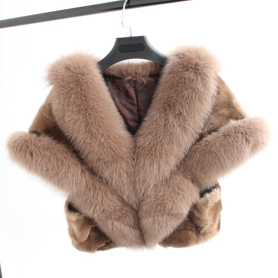 2017 mew fashion winter women natural piece mink fur shawl with fox fur collar Wedding bride capes and shawls warm thick wraps fashionable real genuine women knit rabbit fur poncho cape wrap shawl with raccoon fur collar stole femail winter style pashmina