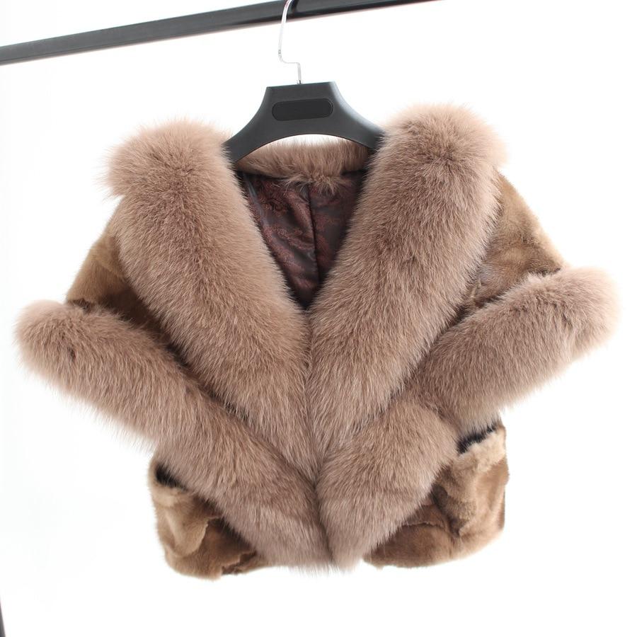2017 mew fashion winter women natural piece mink fur shawl with fox fur collar Wedding bride capes and shawls warm thick wraps