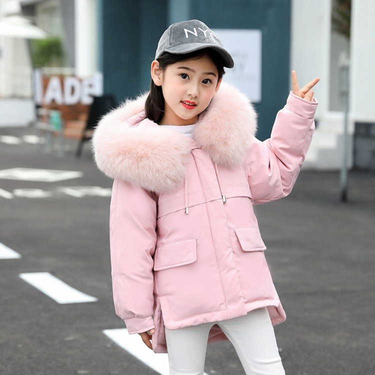 New 2018 Fashion Children Winter Jacket Girl Winter Coat Kids Warm Thick Fur Collar Hooded girls down Coats For Teenage 4Y-12Y girls down coats girl winter new 2018 fashion children coat kids warm thick fur collar hooded long down parka for teenage 4y 14y
