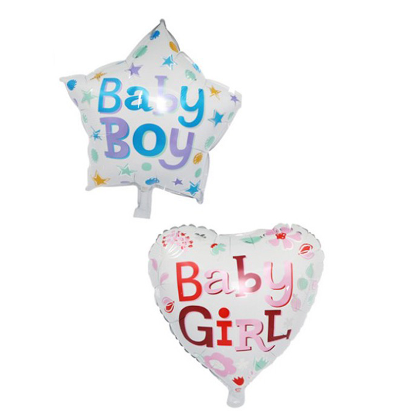 10 Pcs/lot Cute Baby Girl Heart Boy Star Happy Birthday Foil Balloons Birthday Party Dec ...