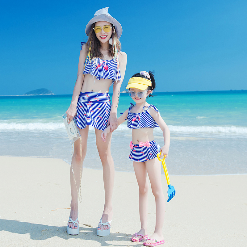 Family swimwear mother and daughter 2 piece bikini set blue striped pad women girls parent-child swimsuits bathing suit 2018 new single sided blue ccs foam pad by presta