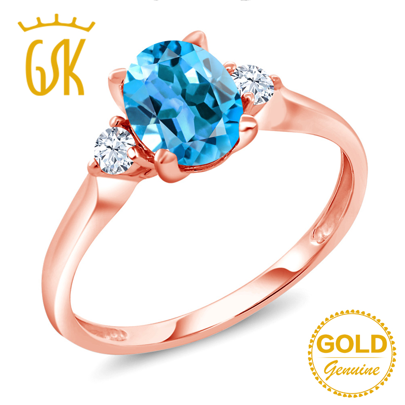 Hospitable Gemstoneking 1.40ct Oval Natural Blue Topaz White Created Sapphire Engagement 3-stone Ring 10k Rose Gold Fine Jewelry For Women Price Remains Stable Rings