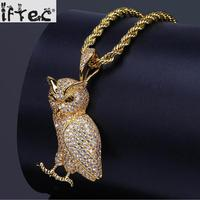 2018 Gold Silver Color Plated Iced Out Micro Pave Cz Stone Animal Owl Pendant Necklace Hip