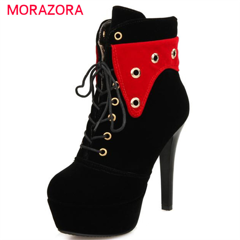 MORAZORA Autumn new women boots mixed colors ankle boots lace-up PU leather boots platform shoes high heels party fashion enmayer genuine leather women boots autumn winter wedges shoes zip fashion ankle boots mixed colors platform shoes boots 34 39