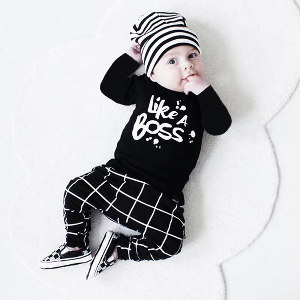 Kids things Baby Boy Clothing Set babies Toddler Newborn Baby Girl Clothes Lettering Long Sleeve T-shirt Tops +Pant Baby Clothes gentleman baby boy clothes 2016 fashion clothing set for newborn baby kids long sleeve t shirt pant sweat suit