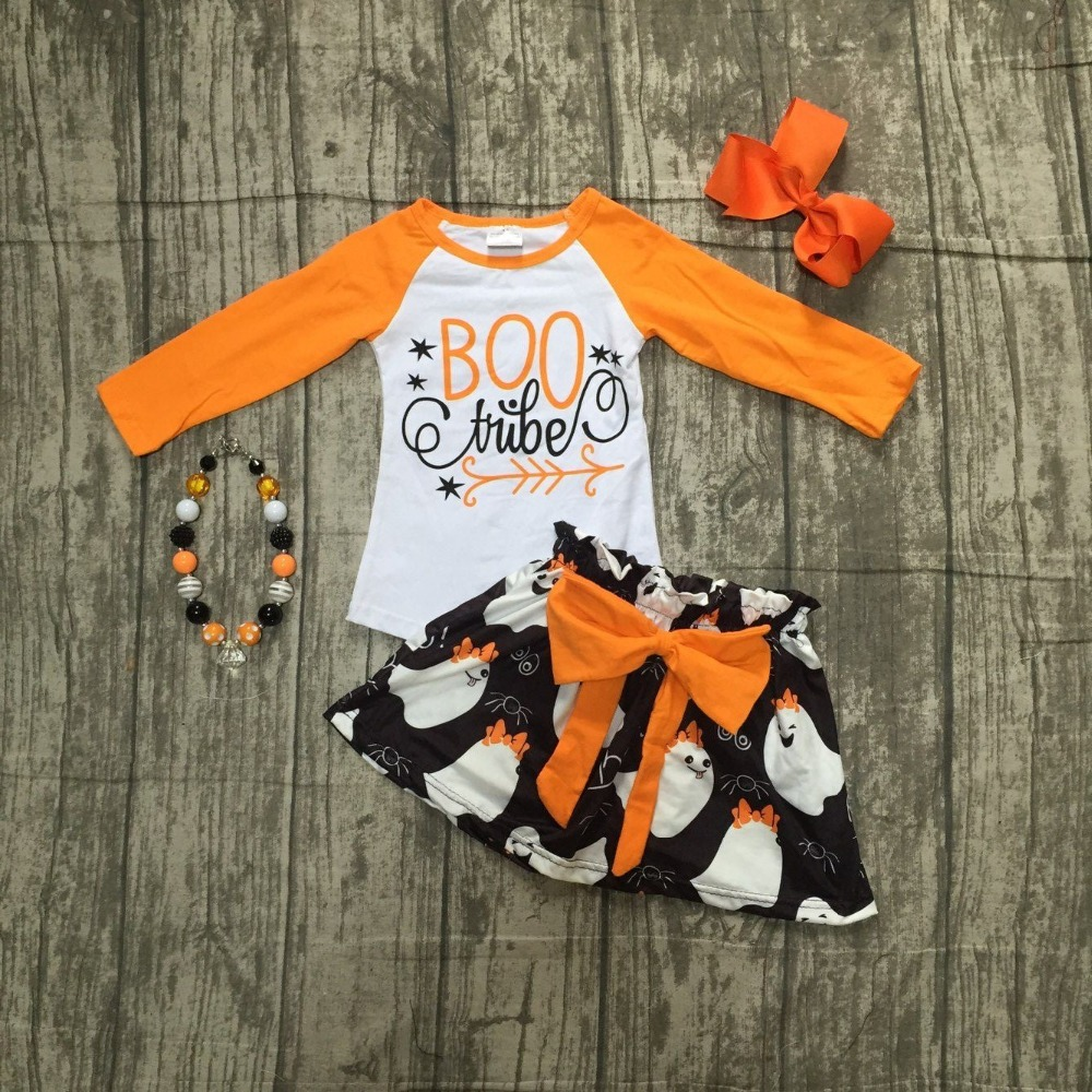 f069729cf0 Fall winter baby girls Halloween BOO tube outifits ghost children clothes  sets orange top with skirts arrow matching accessories