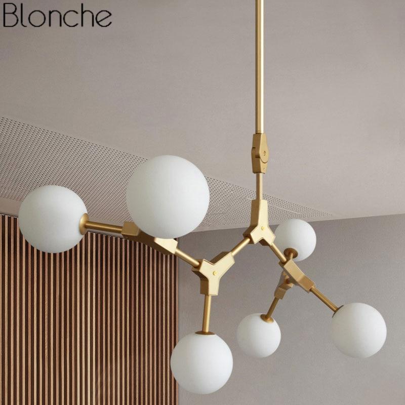 Postmodern Pendant Lights Led Glass Hanging Lamp Magic Bean Ball Industrial for Living Room Kitchen Fixtures Home Decor Light