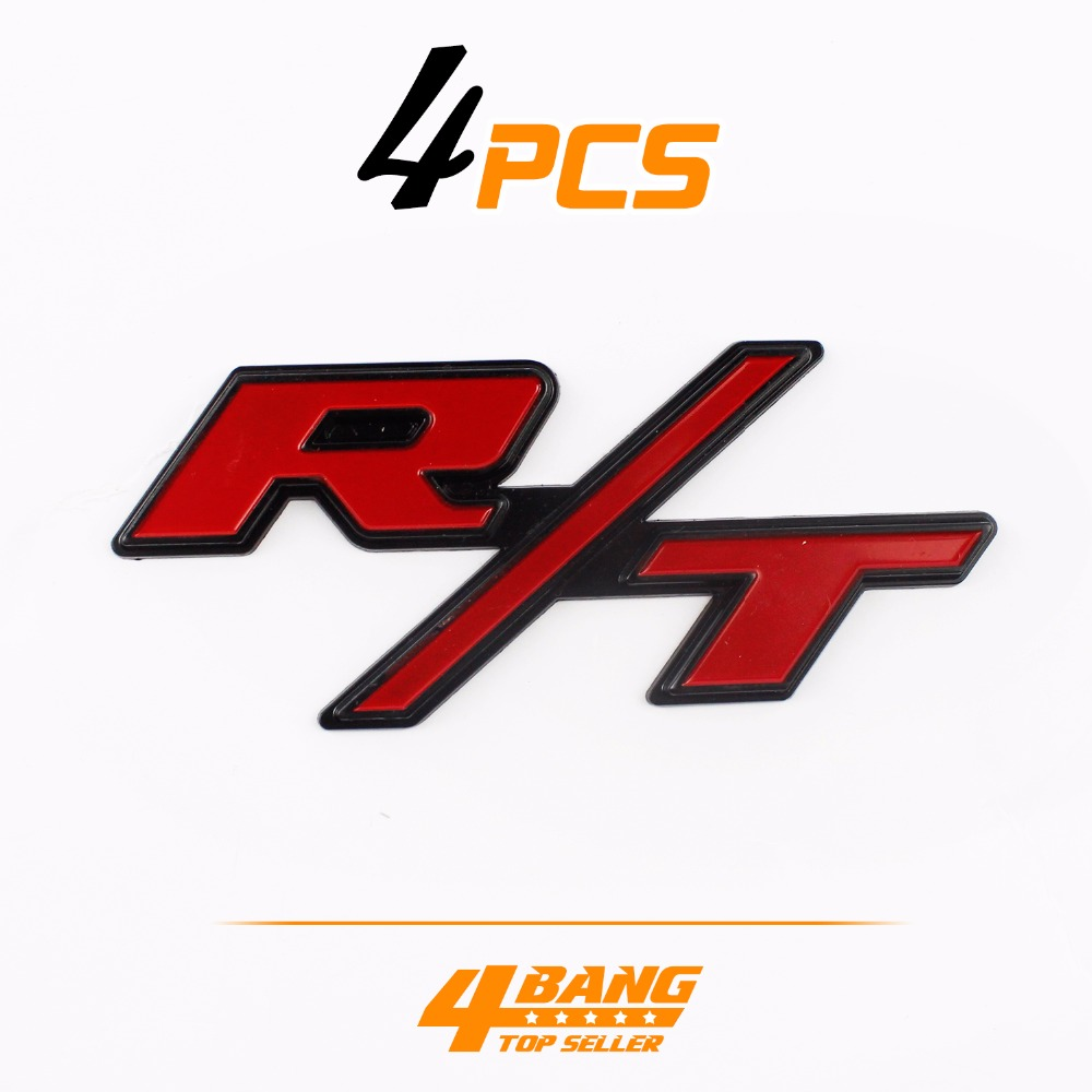 4pcs r t red and black 3d sticker tailgate emblem badge racing decal auto badge for dodge charger challenger