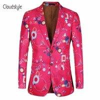 Cloudstye 2018 Brand Suit Jackets Men Fashion Floral Print Blazer Men Casual Slim Fit Pink Blazer