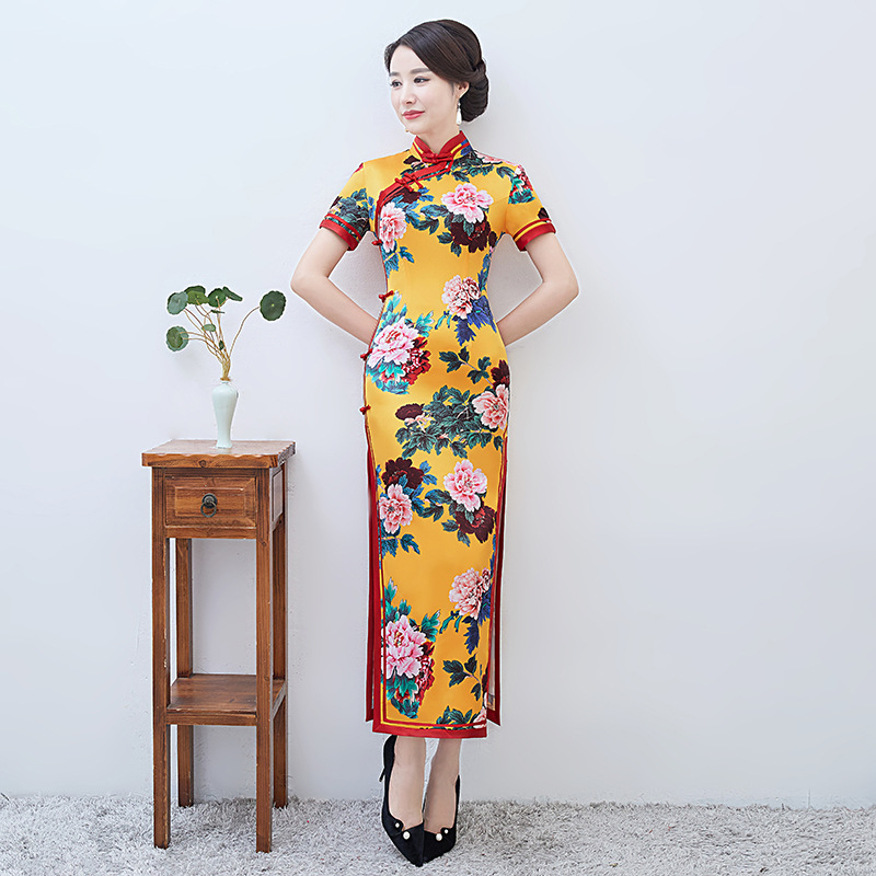 2019 Long Cheongsam Vintage Chinese style Mandarin Collar Dress Womens Summer Rayon Qipao Slim Party Dresses