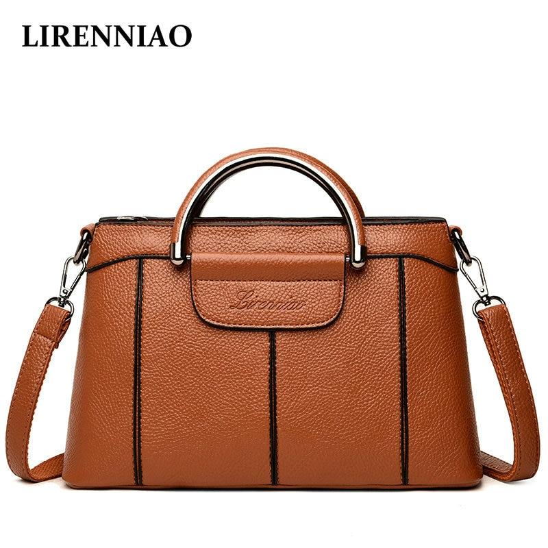 LIRENNIAO 2018 Quality Luxury Genuine Leather Shoulder Bag C
