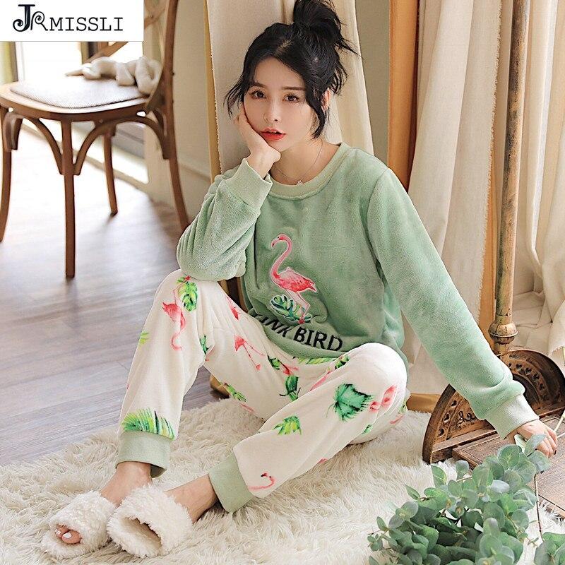 JRMISSLI Flannel Flamingo Winter Women   Pajama     Sets     Pajamas   Pijama Pyjama Women Feminino Pijama Mujer Pijamas Entero Pyjam