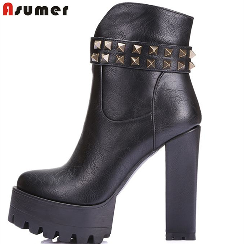 Asumer high quality soft pu leather women boots round toe platform shoes high heel autumn winter ankle boots стоимость