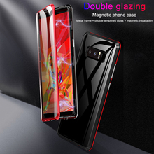 Double Faces Dual Tempered Glass Magnetic Adsorption Case For Samsung Galaxy A70 A60 A50 A30 A20 A7 A9 2018 Cover Metal