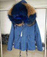 Корейский стиль новинка 2017 года джинсовые плотные Джинсы для женщин зимняя куртка Для женщин Мех животных пальто верхняя одежда большой на