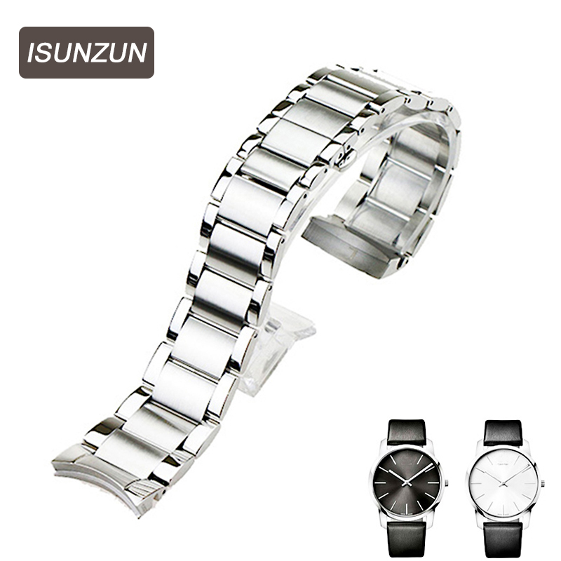 ISUNZUN Men's Watchband For CK K2G211/K2G231 Special Steel Strip Watch Band Best Christmas Gift For Men 22mm/16mm Watch Strap isunzun watch bands for tissot 1853 t045 407a t045 harbor series steel strip brand watch straps stainless steel watch chain