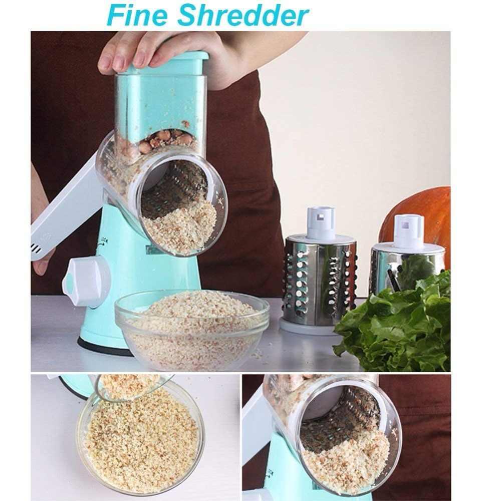Tambor redondo mandoline slicer rotativo ralador de queijo manual vegetal slicer veggie batata shredder porca chopper (azul)