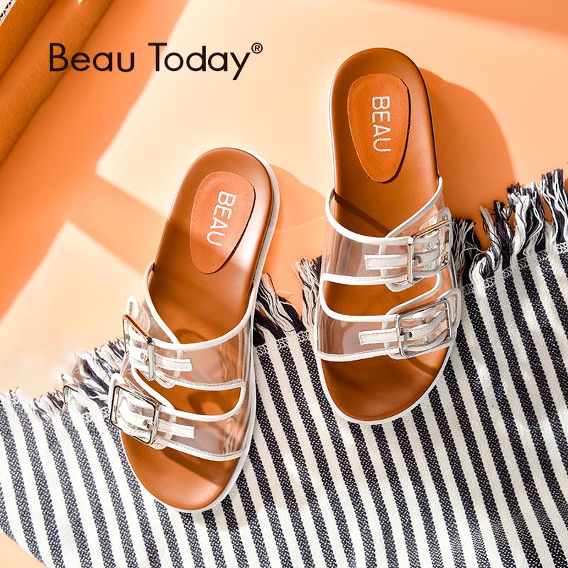 BeauToday zapatillas mujer Zapatillas de cuero de vaca hebilla Casual al aire libre señora transparente verano diapositivas hecho a mano 36100-in Zapatillas from zapatos    1