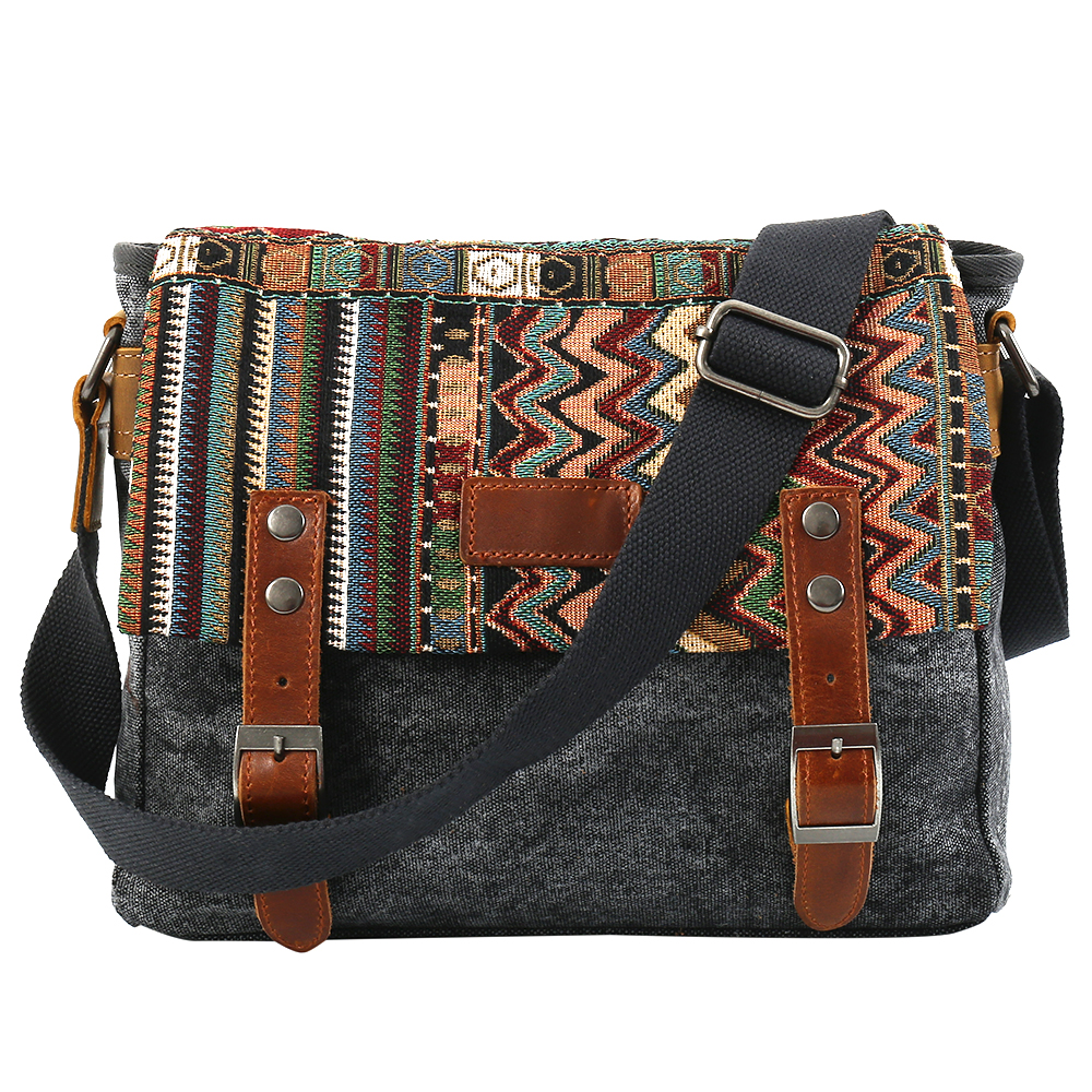 Vintage Ethnic Canvas Messenger Bag Chinese Style Shoulder Bag Female Casual National Bag Mujer Embroidery Crossbody Bag