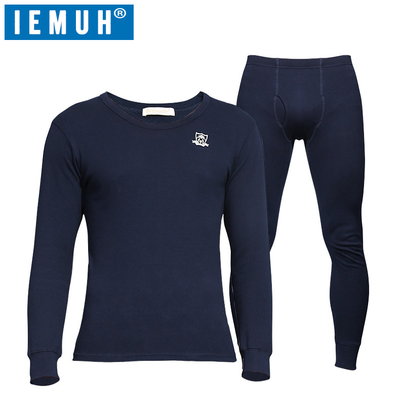 IEMUH Winter Long Johns Thermal Underwear for Men Cotton Brand Anti microbial Stretch Men's Thermo Underwear Male Warm Thermal