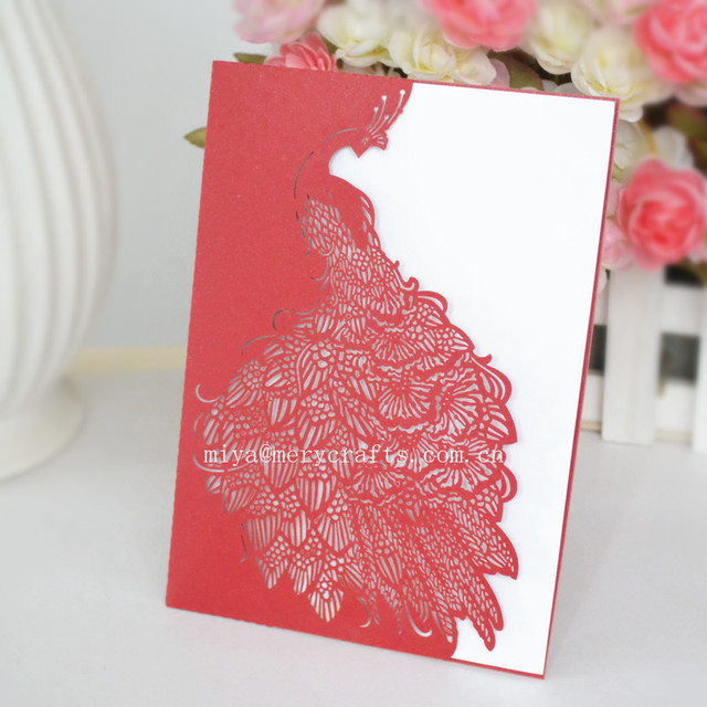 Laser Cut Paper Peacock Wedding Invitations Red Pocketfolds Wedding  Invitations Pocket