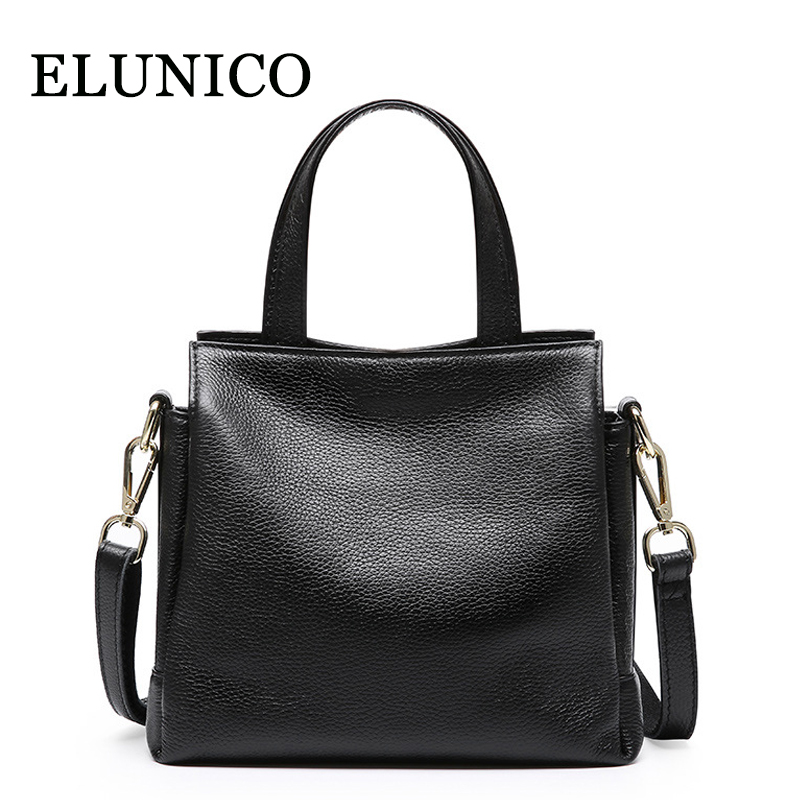 ELUNICO 2018 Casual Fashion Luxury Handbags Women Bags Designer Genuine Leather Tote Bag Ladies Cowhide Messenger Shoulder Bags luxury handbags women bags designer red genuine leather tassel messenger bag fashion extra large casual tote zipper shoulder bag page 4
