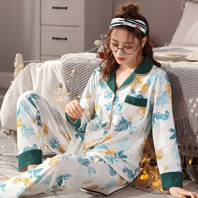 Women 100% Cotton Pajamas Set For Spring Autumn 2pcs Long Sleeves Shirt+Pants Print Sleepwear Nightwear Pijama Pyjamas XXL