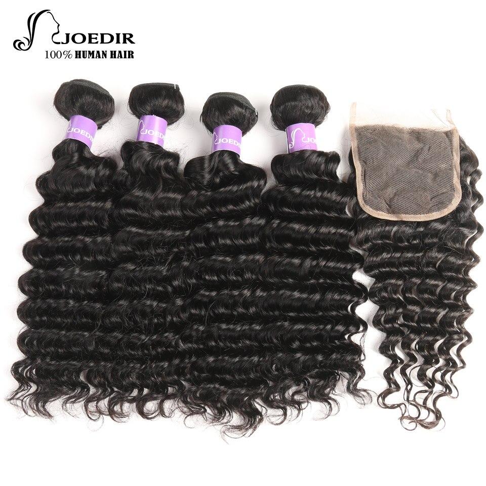 joedir Hair 4Pcs Bundles With Closure 4*4 Part indian deep wave Human Hair Bundles with swiss lace Closure Pre-Plucked Hairline