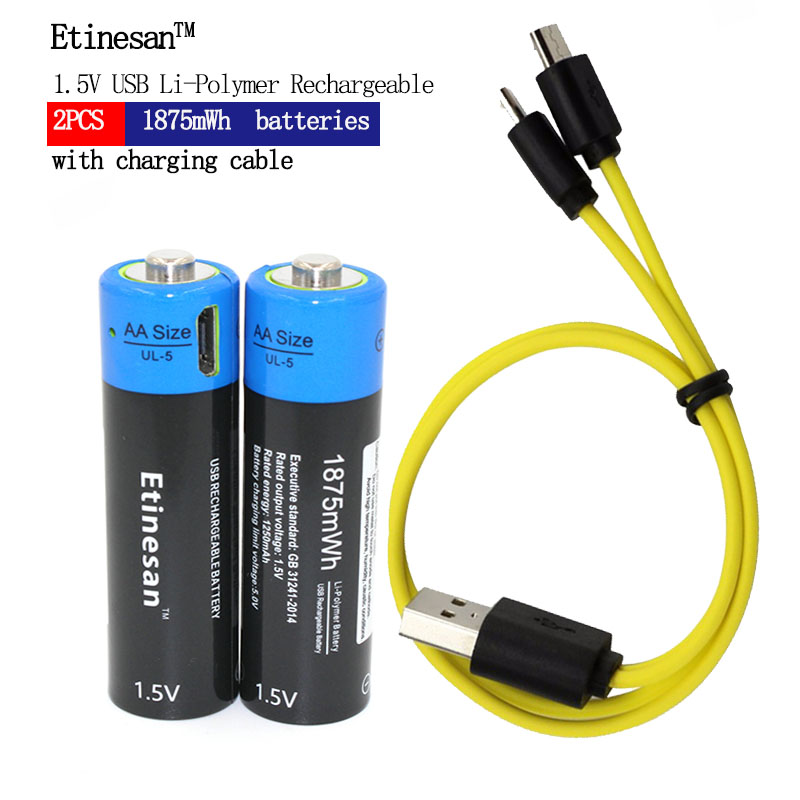 New technology! 2pcs Etinesan 1.5V AA 1250mAh Li-polymer Li-po rechargeable lithium li-ion battery with USB cable pack