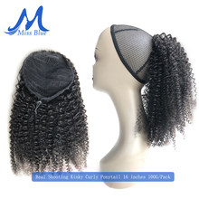 Mongolian Afro Kinky Curly Human Hair Drawstring Ponytail Clip In Hair Extensions Natural Remy Puff Ponytail Products Missblue(China)