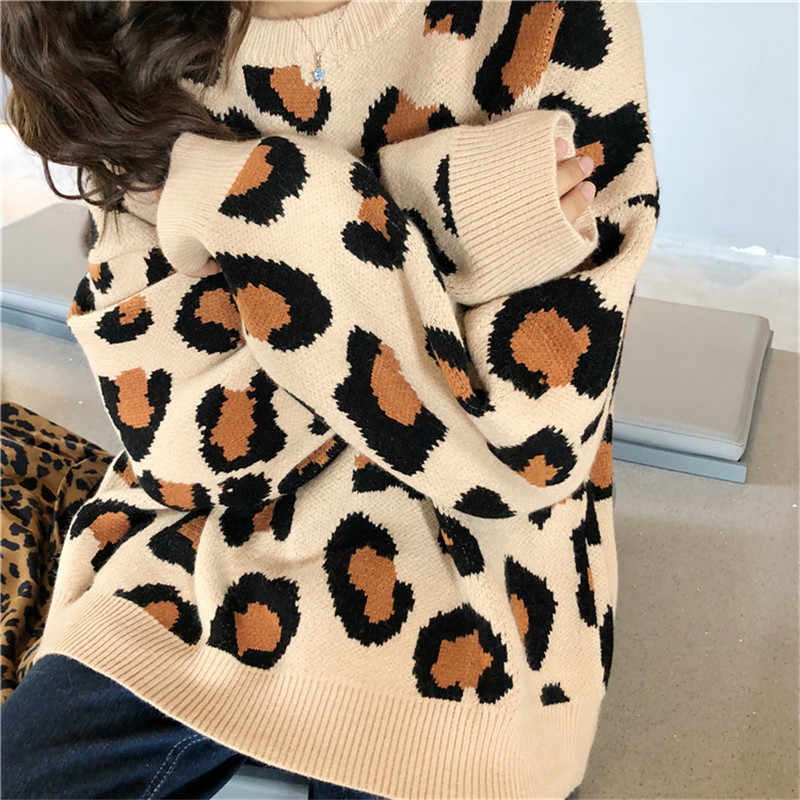 New Fashion Female Leopard Sweater 2018 Winter Runway sweater Casual O-Neck Knitted Long Sleeve Pullovers For Women Sueter Mujer