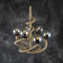 Vintage żyrandol z liny przemysłowej Beanstalk kreatywne przywództwo amerykańskiej restauracji ze szklaną kulką ZH GY224