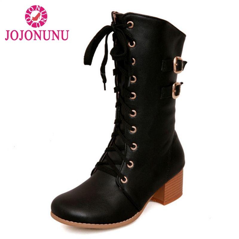 JOJONUNU Size 31-43 Woman Short Winter Boots Metal Buckle Fur Lace Up Round Toe Woman Mid Calf Boots Woman Shoes Footwear цена