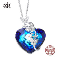 100% S925 Sterling Silver Butterfly &Heart Rhinestone Crystals from Swarovski Fashion Necklaces for Women 2018 Statement Jewelry