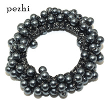 Fashion ins wind handmade crochet rubber women band hair rope pearl girl ring head ladies accessories