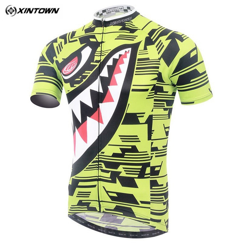 XINTOWN Men Bicycle Cycling Clothing Tops Shark  Summer Bike Cycling Jersey Breathable Sport wear CC0361