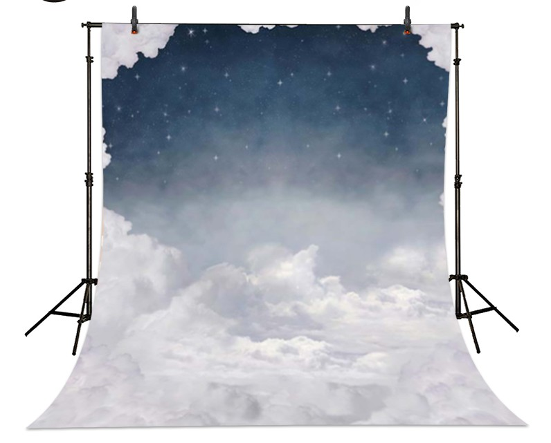 Night Sky White Clouds photo backdrop Vinyl cloth High quality Computer printed newborns Photography Backgrounds