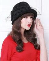Señora Elegante arco de lana sombrero cuenca sombrero femenino sombrero de lana de invierno estilo de la fiesta B-0853 casquillo hembra con velo al por mayor