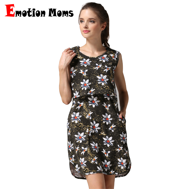 Emotion Moms Sleeveless Floral Maternity Nursing Dress Pregnancy Short Dress For Pregnant Women Breastfeeding Dress summer style best floral imprint sleeveless skater dress