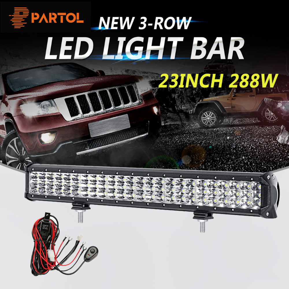 Partol 23inch 288W 3-Row 6D LED Light Bar Offroad Led Bar Combo Beam Driving Work Light Camper Truck SUV ATV 4x4 4WD 12v 24v partol 240w 22 tri row led work light bar offroad led bar spot flood combo beam truck suv atv 4x4 4wd driving lamp 12v 24v